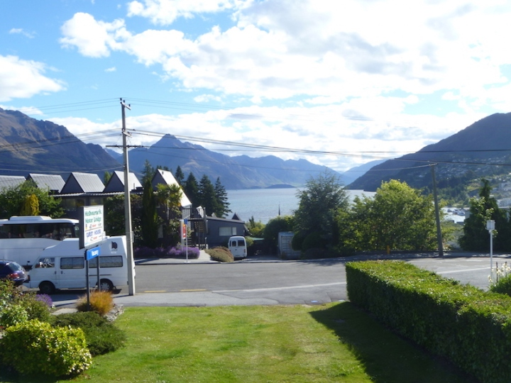 Next stop my motel, view from the deck is straight down Lake Wakatipu with mountains all around ...