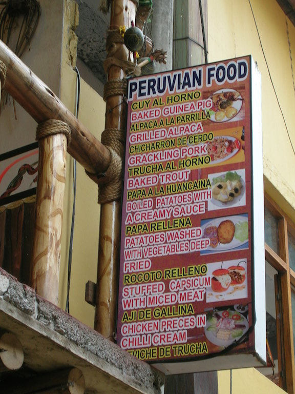 A typical menu from a cafe - I found vegetarian options hard to come by in Peru but not impossible