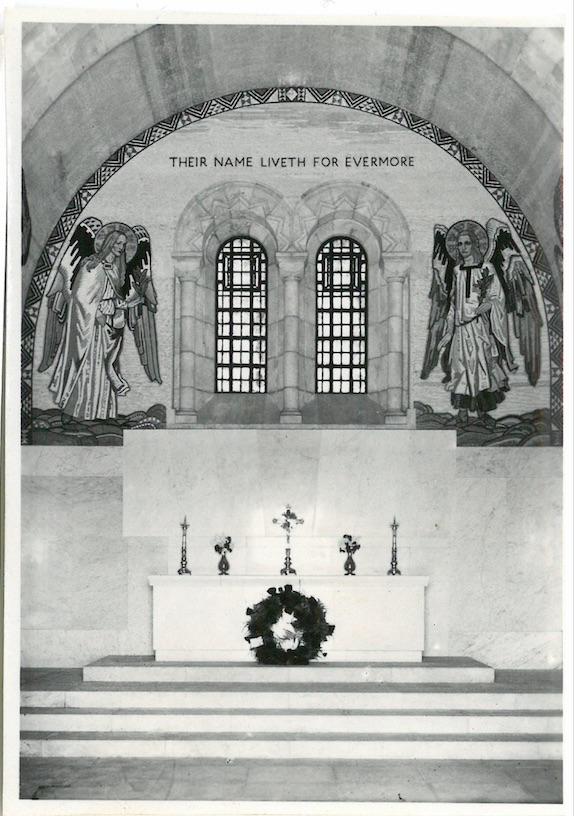 Inside Chapel showing alter & mosaic work - War Cemetery - Jerusalem