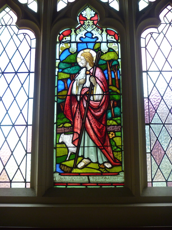 This glass depicts the story of the Good Shepherd