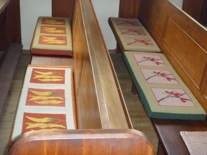 The seat cushions are all New Zealand native flower tapestries