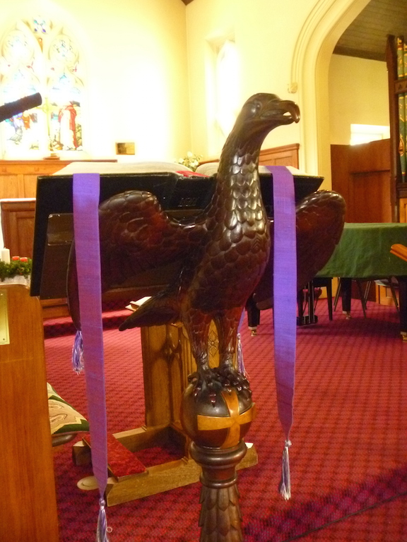 Carved eagle lectern, the work of a Chinese man named Ah Tong, given in 1874