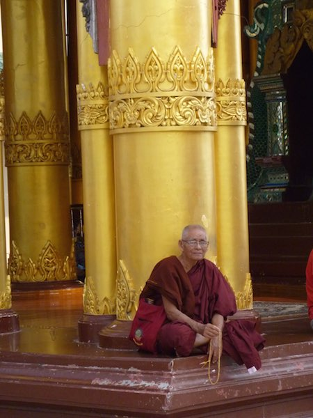The Myanmar monks have burgundy coloured robes