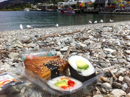 Sushi picnic on the shore of Lake Whakatipu