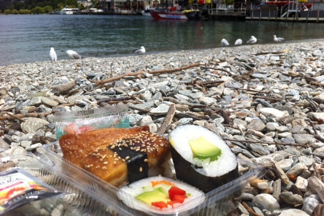 Sushi Picnic on the shore of Lake Wakatipu