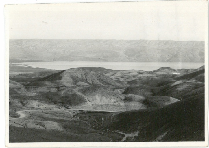 The wilderness of Judea with Dead Sea in background. Gives good idea of naked barren land surrounding Jerusalem