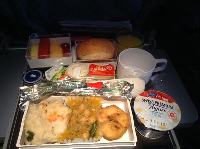 Breakfast before landing in Christchurch