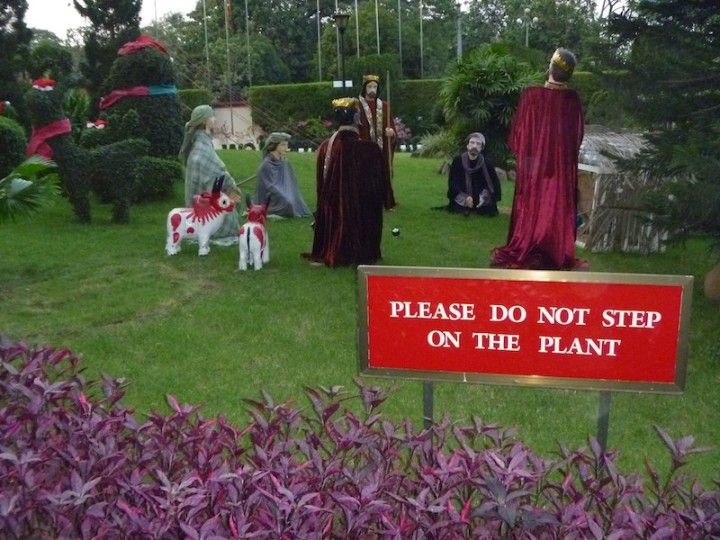 I'm not sure what was funnier, the sign or the truly awful nativity scene outside the hotel