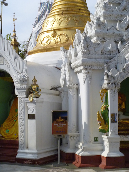 Free wifi sign at Shwedagon Pagoda
