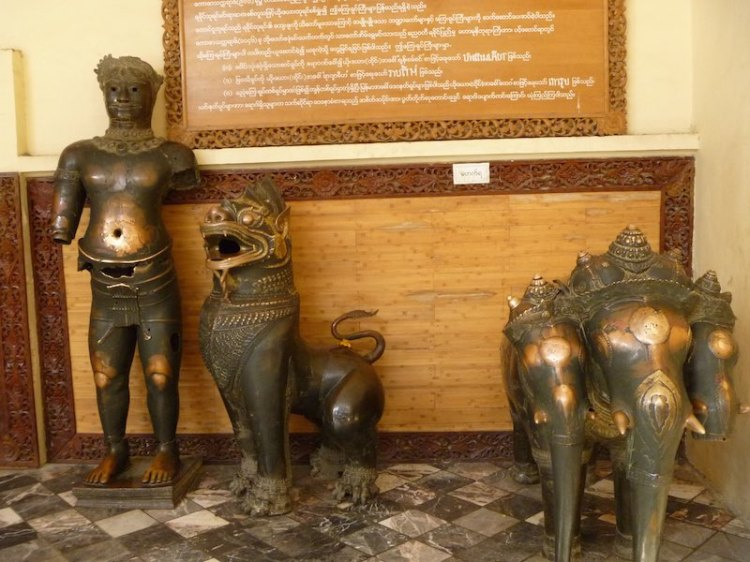 These bronze images came from Thailand to Myanmar but its believed they were originally from Angkor Wat in Cambodia.  Pilgrims come and touch the parts of the human figures body to cure what ails them.