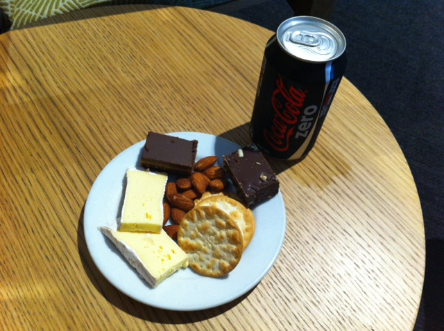 My workmate and I were on the same flight back to Christchurch so we decided to have some pre-flight snacks in the Air New Zealand Koru lounge.  The cheese was fabulous.  However as travel often does, it didn't go to plan and our flight was cancelled due to low cloud.