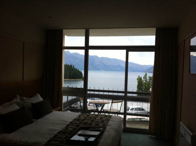 "At lunchtime, I went and checked into my hotel which I booked as a cheap ""mystery hotel"" on Wotif.  I ended up at Rydges with a waterfront view and free wifi.  A bargain for Queenstown at only $111 a night."