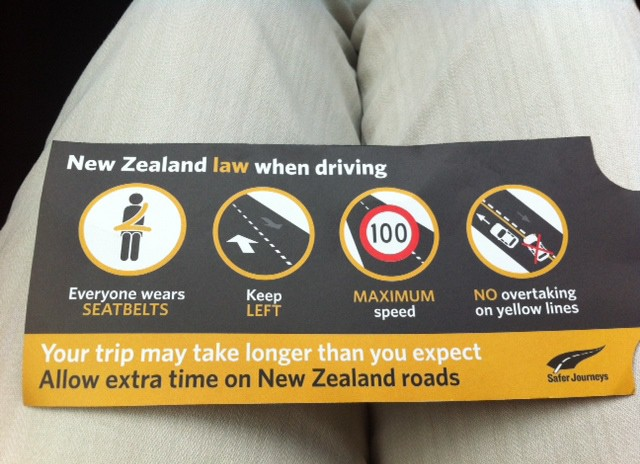 I was sure to remind the driver at regular intervals about the New Zealand driving laws.