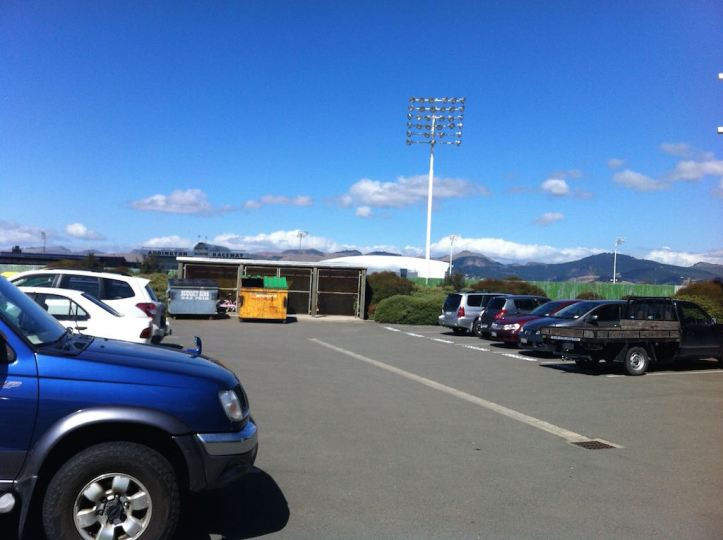 View from the carpark at work - we have a large bike shed and you can see the Port Hills in the distance