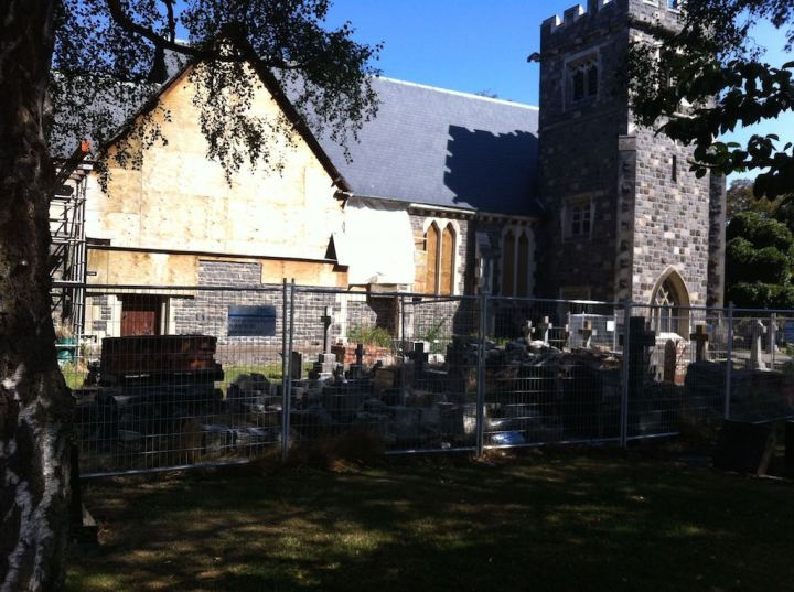 Its a little hard to see with the bright light and the shadows but this is St Peter's Church at Church Corner, still awaiting earthquake repairs after 4 years.  Rubble stacked around some of the graves.  My great-grandmother is buried here.