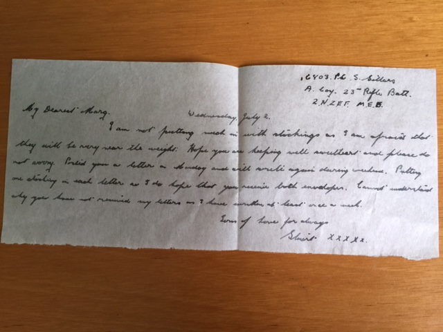 Letter home from WW2