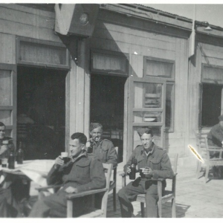 Party outside cafe on shore of Dead Sea - Palestine (Stuart Sillars 5th from left)