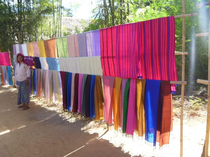 A market seller's colourful array of scarves