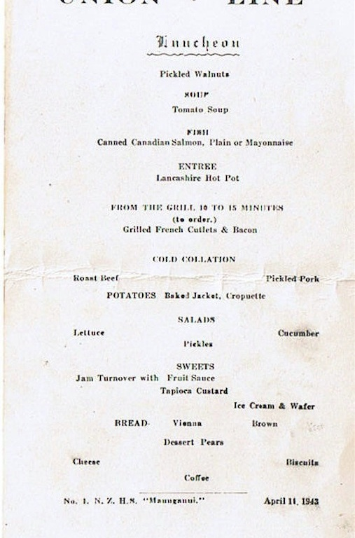Union Line Menu April 11 1943