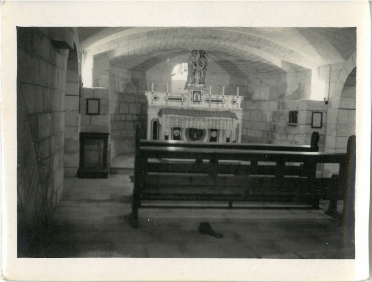 View of altar in Church of St Joseph%22 believe to be built over caves in which Jesus & Joseph worked in the carpenter shop - Nazareth