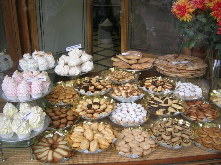 Yummy treats in a store window in Barcelona