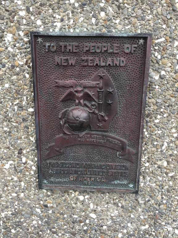 "To the People of New Zealand ""If you ever need a friend..  you have one.""  The Second Marine Division  Association.  United States  of America 1951"