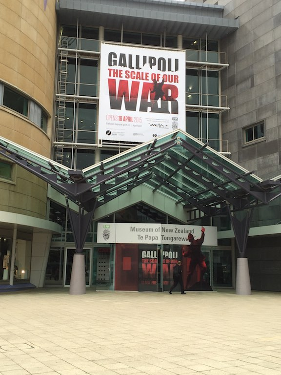 Gallipoli The Scale of Our War sign outside the Te Papa entrance