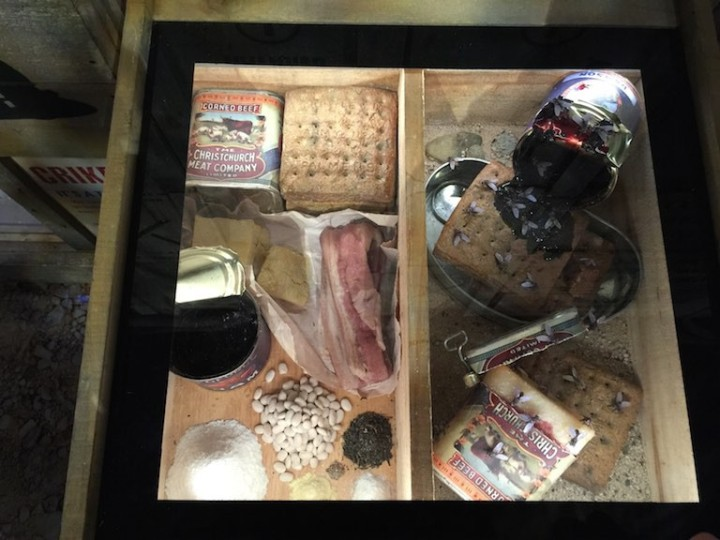 Examples of the food eaten by troops, hard biscuits which broke their teeth, jam and preserved, salted meat.