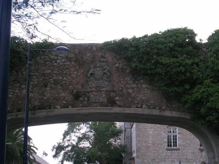 British coat of arms over the archway