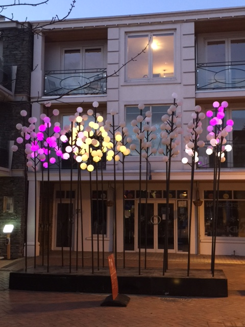 WATTLE by Angus Muir Design and AJ Design Co. 300 glowing bulbs that change colour from yellow through pinks and purple.