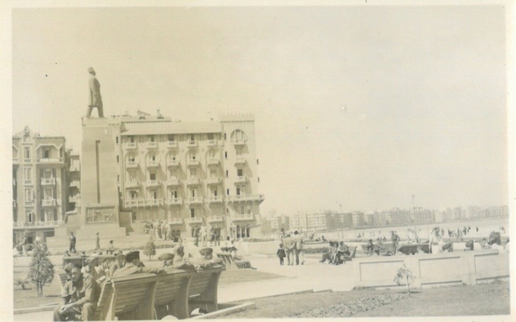 Zaghloul Pasha's Statue - Cecil Hotel in background - Alexandria