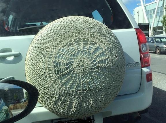 Crocheted Car Spare Wheel Cover