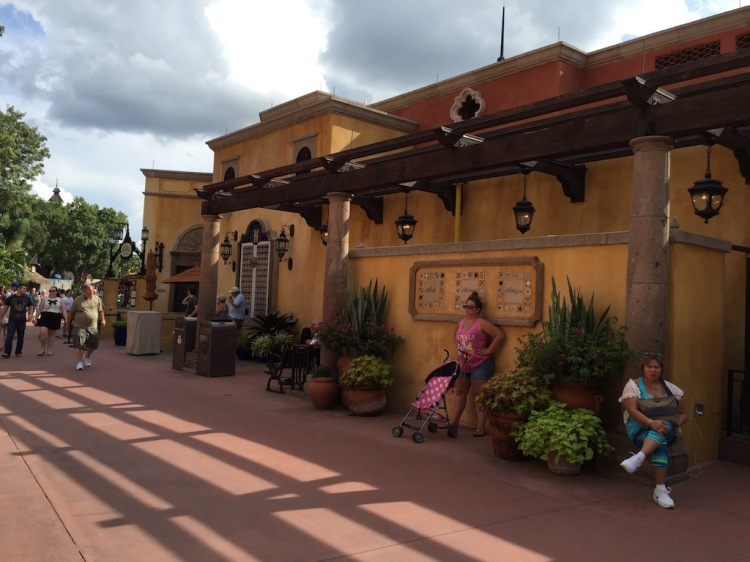 The Epcot lagoon side buildings with the dining locations