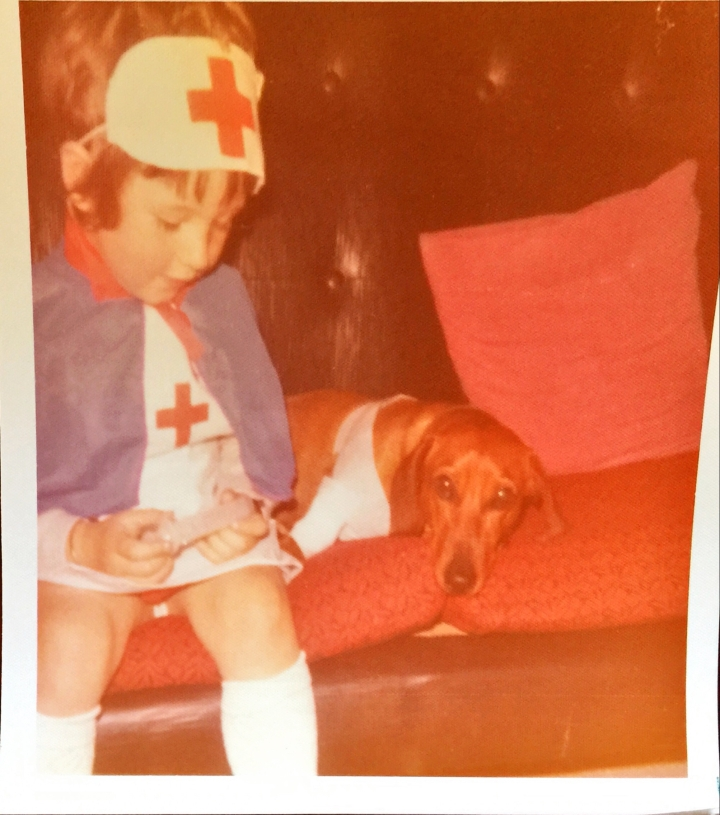 Nurse Paula and Sam the sausage dog