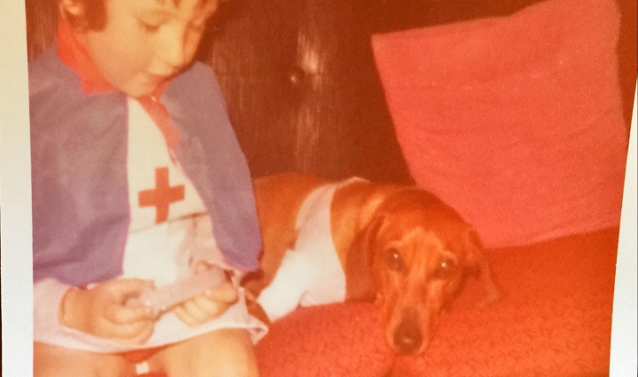 Nurse Paula and Sam the sausage dog
