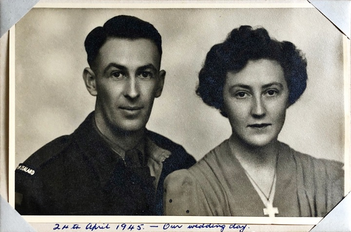 Stuart and Margaret Sillars (nee Wootton) on their wedding day - 24th April 1945